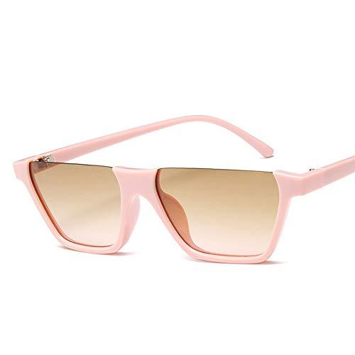 WDDYYBF Sonnenbrillen, Klassische Mode Retro Sonnenbrille Super Hälfte Frame Brille Cat Eye Semi-Rimless Frauen Sonnenbrille Brille Schutzbrille Uv400 Rosa Rahmen Braun Linse