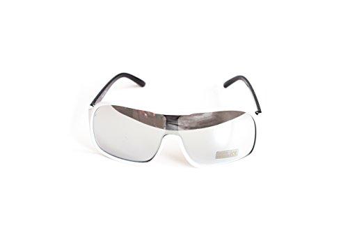 Piloten-Brille Sonnen-Brille Flieger-Brille White Verspiegelt UV-Schutz 400