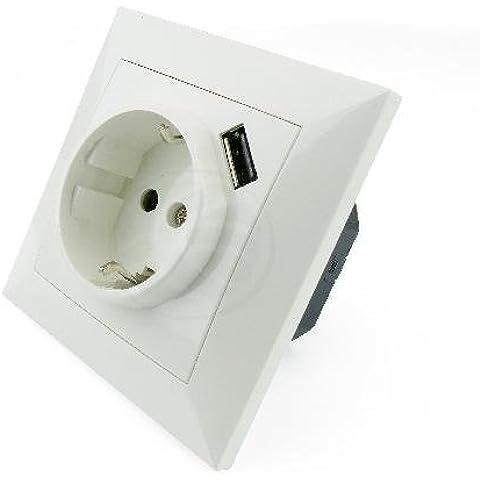 Cablematic - Base de enchufe schuko con USB A hembra 80x80mm para empotrar