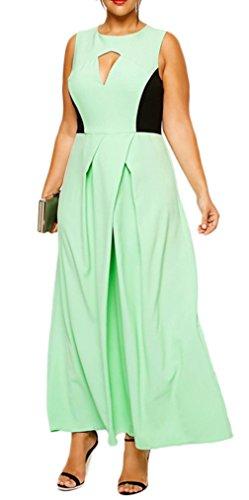 Bigood Robe Grande Taille Femme Sans Manche Col Rond Soirée Mariage Longue Elégant Vert Clair