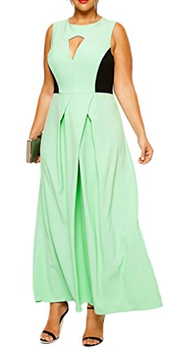Smile YKK Femme Plus Size Robe Longue Peplum Grosse Taille Uni Vert
