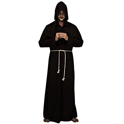 Funpa Halloween Umhang Einfache Weinlese Cosplay Robe Halloween Kapuzen Kostüm mit Kreuzgürtel