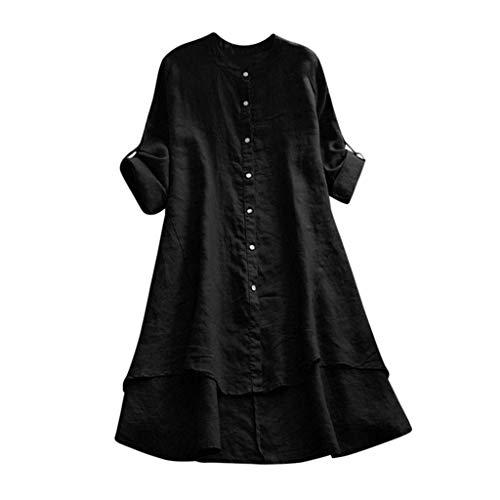 CAOQAO Damen Sexy Einfarbig BeiläUfige Lose Leinen Feste Knopf Langarm Langes Hemd Bluse Tops Tunika ()