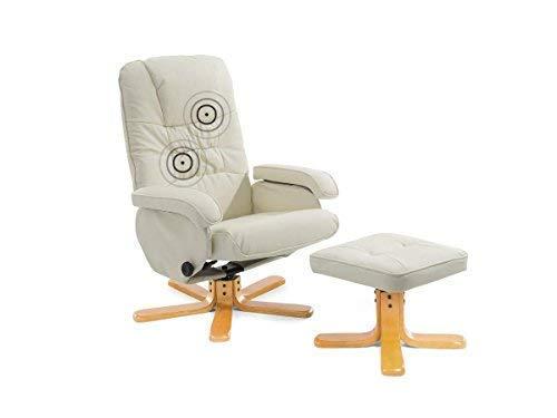 Supply24 Leder Massagesessel Basel cremeweiss/beige TV Leder Sessel Creme Weiss mit Hocker Schöner günstiger Fernsehsessel für Wohnzimmer
