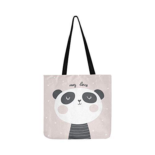Baby-Dusche-Karte Panda Print Canvas Tote Handtasche Schultertasche Crossbody Taschen Geldbörsen für Männer und Frauen Einkaufstasche