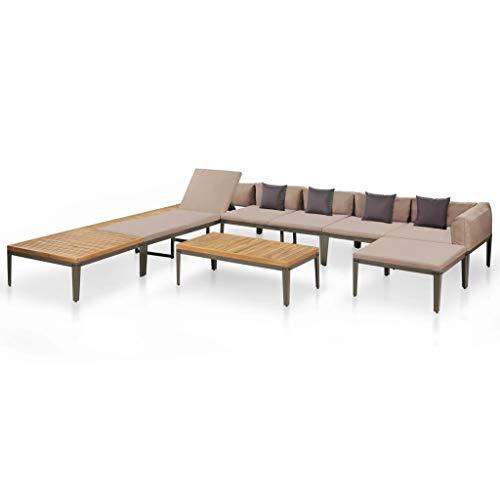 Festnight- Gartenm?Bel Akazienholz | Garten Sofagarnitur mit Sonnenliege | Holz Lounge Set für 8-10 Personen | Ecksofa Couchtisch Outdoor Gartenset -
