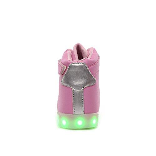 tuluo Kid e uomo e donna USB carica LED 7 Colori High Top Sneakers Luce Scarpe PinkSilver