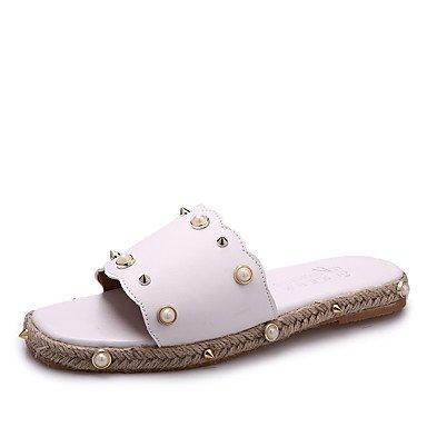 Zormey Damen Sandalen Komfort Pu Sommer Kleid Lässige Party & Amp; Abends Zu Fuß Mode Stiefel Raupe Flachem Absatz Weiß Schwarz US8 / EU39 / UK6 / CN39
