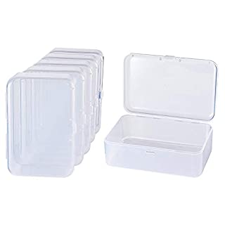 BENECREAT 12 PACK Rectangle Mini Clear Plastic Bead Storage Containers Box Case with lid for Items,Pills,Herbs,Tiny Bead,Jewerlry Findings, and Other Small Items (9cm x 6cm x 3.2cm)