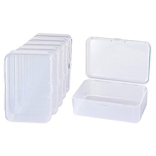 BENECREAT 12 PACK 9 cm x 6 cm x 3,2 cm Rechteck Mini Durchsichtige Kunststoffperle Aufbewahrungsbehälter Box mit Deckel für Artikel, Pillen, Kräuter, kleine Perlen, Schmuckzubehör