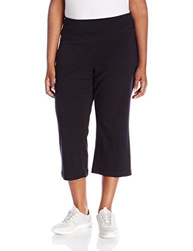 Jockey Women's Slim Capri Flare, Deep Black, Large (Capri Damen Jockey)