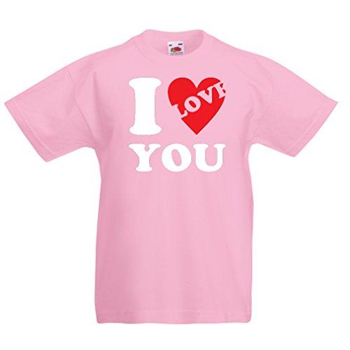 en/Mädchen T-Shirt Ich Liebe Dich! - St. Valentinstag-Outfit, tolle Geschenkideen (1-2 Years Pink Weiß) ()