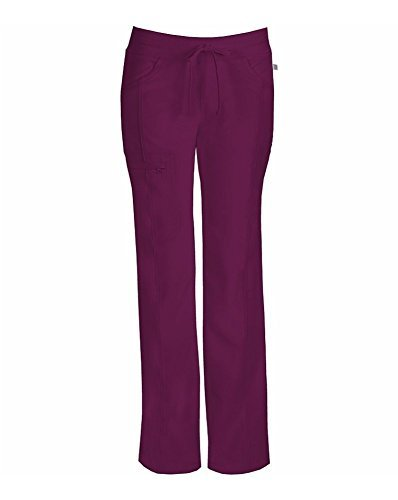 Infinity by Cherokee Lowrise Straight Leg Knit Waist Drawstring Cargo Pant (Wine, XS, Petites) by Cherokee (Drawstring Pant Cherokee)