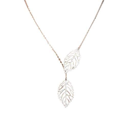 Dorical Kurzhalskette für Damen Mädchen Anhänger Einfache Metall Doppelblatt Anhänger Legierung Chokerhalskette, Party Hochzeit Schmuck Accessories Reizend Necklace(Silver)