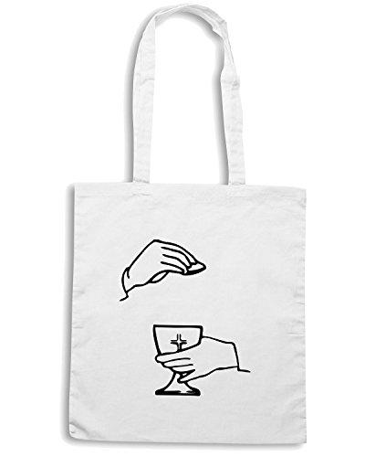 T-Shirtshock - Borsa Shopping FUN0435 1891 religious stickers 09 83350 Bianco