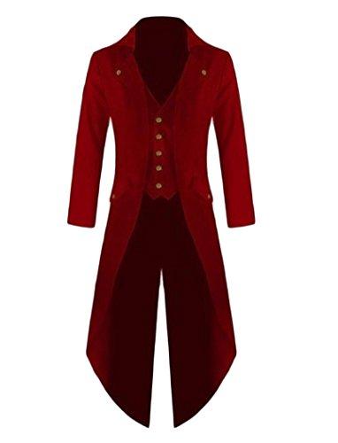 AngelSpace Men's All-Match Pure Color Medieval Suit Jacket Blazer Coat