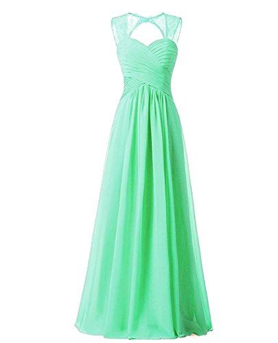 Brautjungfernkleider Pastell (Beonddress Damen Chiffon Brautjungfernkleider Ballkleid Abendkleider lang Hochzeitskleid Cocktail Party(Minze,52))