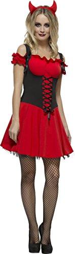 Fever, Damen Sündhafter Teufel Kostüm, Kleid mit Unterrock und Hörnern, Größe: S, 30886