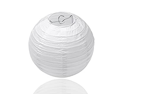 10x Round Paper Lanterns Sioco in White Colour / lampshades paper - Ideal for Wedding Decoration (Pack of 10 units) (8