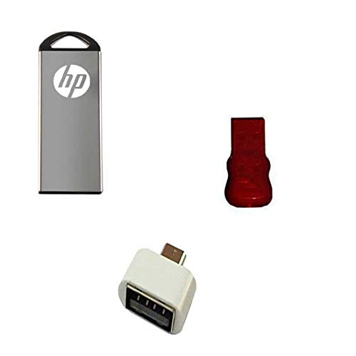 HP V220W 64 GB Metal Pendrive OTG Adapter and Card Reader