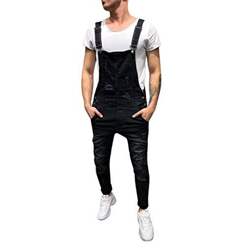 LuckyGirls Vaqueros Hombre Rotos Pantalones Denim Jeans Moda Pantalón Petos Mono (Negro,S/EU:72)