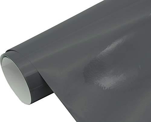 Neoxxim 4,60€/m2 Premium Auto Folie - GLÄNZEND Grau anthrazit Glanz 30 x 150 cm - blasenfrei mit Luftkanälen ca. 0,15mm dick Folierung folieren bekleben