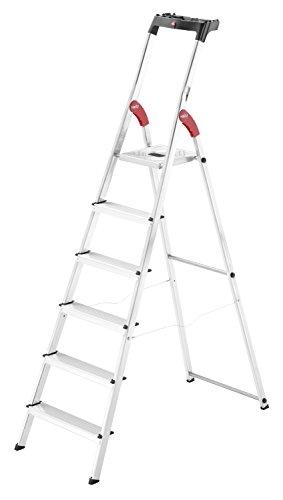 Preisvergleich Produktbild Hailo L60, Alu-Haushaltsleiter, 6 Stufen, EasyClix, Ablageschale, Gelenkschutz, belastbar bis 150 kg, made in Germany, 8160-607