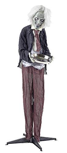 Halloween Butler Kellner | knuellermarkt24.de | Figur 160 cm lebensgroß Animation Dekoration gruselig mit Funktion Sound Licht Zombie mit Tablett