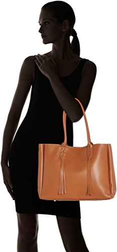 CTM Elegante Handtasche der Frau, die in echtem italienischem Leder 39x28x13 Cm Orange (Cuoio)