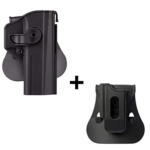 IMI CZ SHADOW 2 Holster + Single Magazine pouch, polymer retention 360 roto level 2 safety w trigger guard lock tactical gun holster for CZ P-09 & Shadow2 pistol handgun -