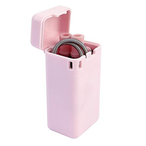 Templom SIX Wiederverwendbare zusammenklappbare Trinkhalme, tragbare Klapphalme aus Edelstahl mit Hartschalenetui und Reinigungsbürste für Reise, Haushalt, Büro(Pink)