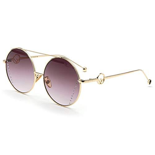Sonnenbrille,Klassische Mode Runde Persönlichkeit Sonnenbrille Metall Frauen Männer Fashion Klare Meer Linsen Uv-Schutz Kaffee