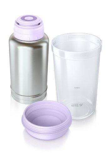 Philips AVENT Thermo-Flaschenwärmer SCF256/00 (Edelstahl, Violett, Polypropylen, Edelstahl, 105 x 105 x 207 mm, China)