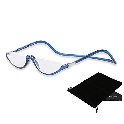 TOPSTARONLINE Flexible Leichtbau verstellbaren Rahmen Lesebrille Halbbrille mit Lesebrille (Blau, 2.00)