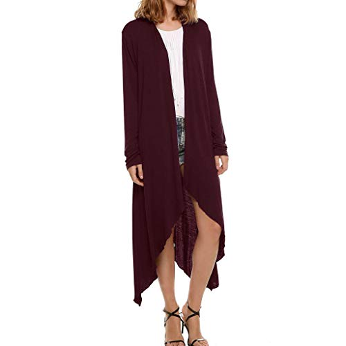 Womens Coat Sale BOIYI Long Sleeve Solid Irregular Hem Loose Casual Windbreaker Cardigan Outerwear (Wine,XL) -