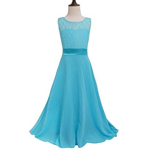 YIZYIF Niñas Encaje Floral Vestido Niña De Las Flores Vestido Bola Vestido De Baile Vestido De Dama De Honor De La Boda Para 4-14