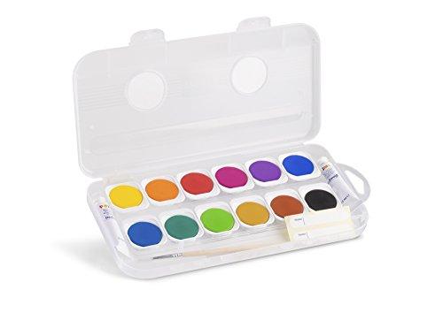 Tuschkasten für Kinder Deckfarben mit 12 Farben und einem Pinsel und 2 Deckweiß-Tuben - Farbkasten...