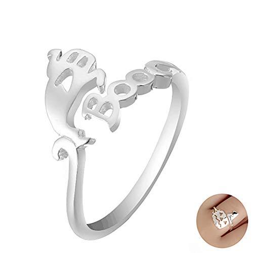 Calabaza de Halloween del fantasma sombrero de la bruja de dedo abierto del anillo de las mujeres joyería simple ajustable de plata esterlina anillo 1PC (Fantasma)