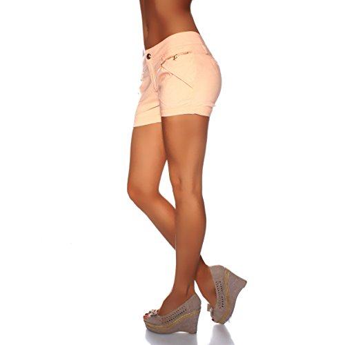 10339 Fashion4Young Damen Sexy Hotpants Chino-Shorts aus Stretch-Stoff Panty Jeans Apricot