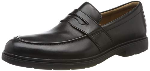 Clarks un tailor view, mocassini uomo, nero black leather, 42.5 eu
