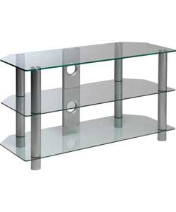 Clear Glass 42 Inch Rectangular TV Stand.