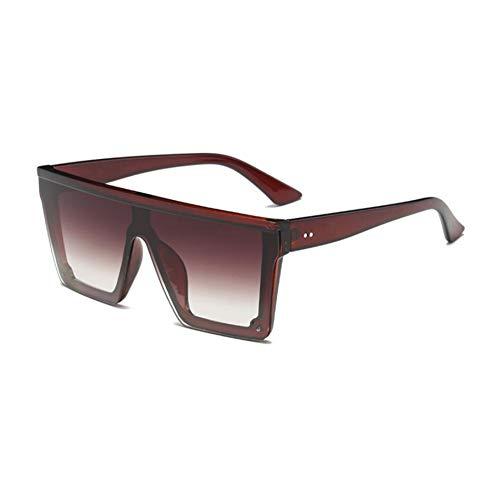 HYUHYU Übergroße Flat Top Sonnenbrille Frauen Einzigartige Herren Sonnenbrille Shield Sonnenbrille Große Quadratische