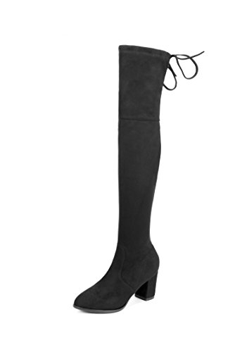 Faux-block (MIUINCY Women's Over The Knee Pointy Boots Stretchy Faux Suede Drawstring Block (39EU, black))