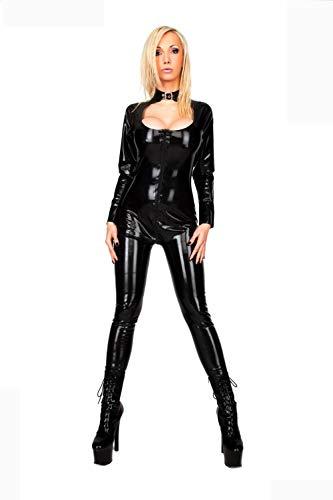 Ropa Erótica para Mujer Tallas Grandes Sml XL XXL 2018 Nuevas Mujeres De La Moda Sexy Catsuit De Cuero De Imitación Negro Catwomen Cosplay Uniformes Envío Gratis @ XXL