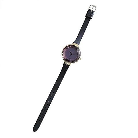 HCFKJ Bracelet De Luxe En Cuir De Mode De Quartz Ronde Analogique Montres (37*37*8mm,, Noir)