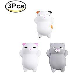 3Pcs Mini Kawaii suave Cat pollo cierre elástico Squishy juguete con caja mochi Squeeze Toy Stress Reliever