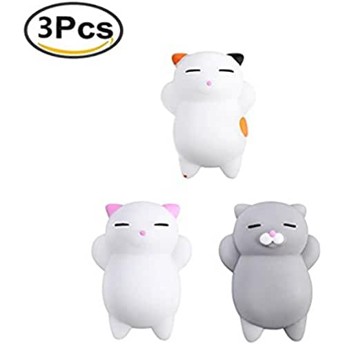 mini kawaii miniaturas kawaii 3Pcs Mini Kawaii suave Cat pollo cierre elástico Squishy juguete con caja mochi Squeeze Toy Stress Reliever
