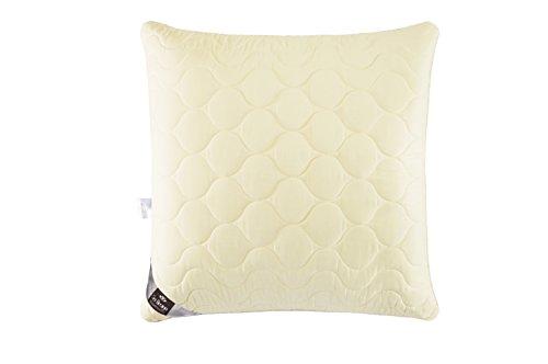 Wool Premium Kopfkissen 80x80 mit feinster, äußerst bauschige echter Schurwolle gefüllt + mit separatem Innenkissen. Bezug Mako-Satin mit Seidenfinish 100% Baumwolle -