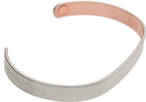 Sabona Kupfer-Magnetschmuck, of London Kupfer-Magnetspange Silber Matt, aus hochreinem Elektrolytenkupfer (99,9{bb261305cf9e31f93c644208bfe31299ad0295a766e6244e2a21daad37cc7a72} rein), matt versilberte Oberfläche (.999 Silber), 2 SmCo Magnete à 1800 Gauß, XL