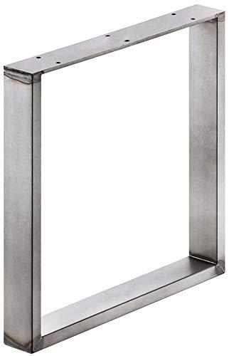 GedoTec® Stahl-Bankkufe Sitzbank Tischfuss zum Anschrauben | Tragkraft 200 kg | Metall Rohstahl lackiert im Vintage/Retro Look | Profil 80 x 20 mm | Tischbein höhen-verstellbar +10 mm